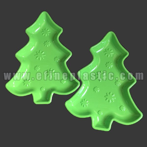 Christmas Tree Shaped Tray Plastic Serving Platter plastic cookie trays