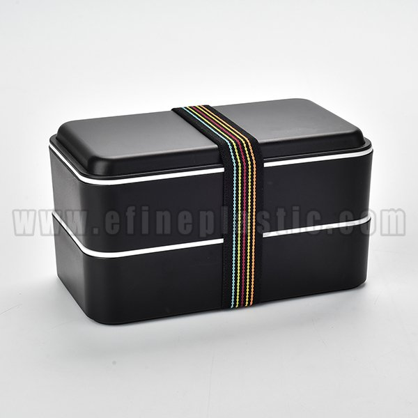 black stackable lunch box double compartment Lunch box
